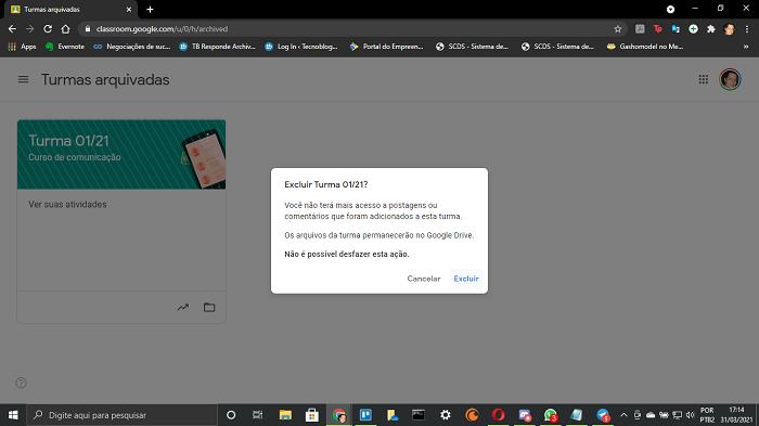 Excluindo turma no Google Classroom (Imagem: Leandro Kovacs/Reprodução)
