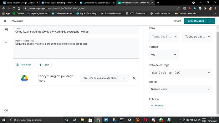 Tela de com todas as configurações de atividades do Google Classroom (Imagem: Leandro Kovacs/Reprodução)