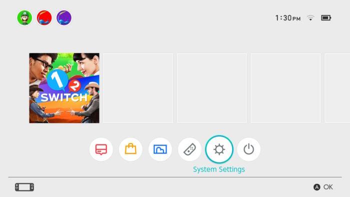 Configurações do Nintendo Switch (Imagem: Suporte/Nintendo)