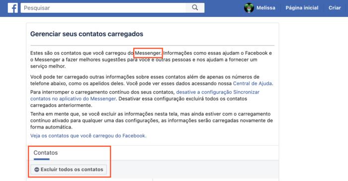 Excluir contatos do Facebook Messenger (Imagem: Reprodução/Facebook)