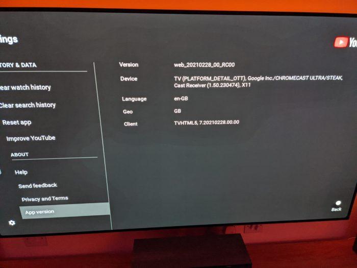 Versão do app YouTube no Chromecast Ultra (Imagem: Reprodução/Garethonreddit)