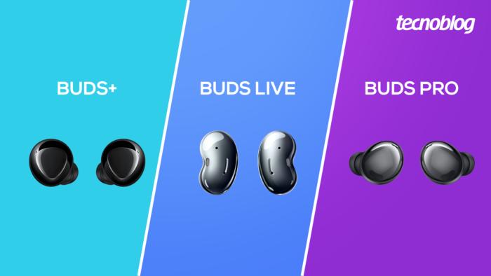 Galaxy Buds+, Galaxy Buds Live e Galaxy Buds Pro (Imagem: Vitor Pádua/Tecnoblog)