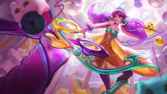 """Gwen, de League of Legends, com a skin """"Embalos no Espaço"""" (Imagem: Divulgação/Riot Games)"""