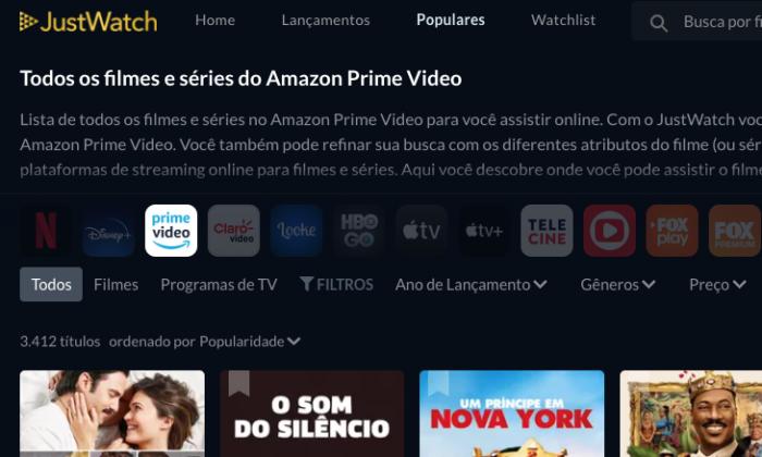JustWatch, no Amazon Prime Video (Imagem: Reprodução/Just Watch)