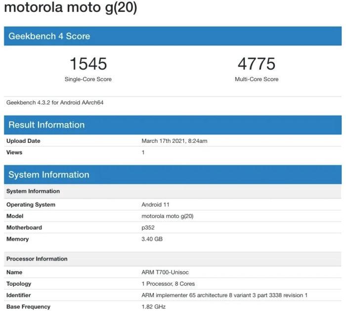 Resultado de suposto teste do Moto G20 (Imagem: divulgação/MySmartPrice)