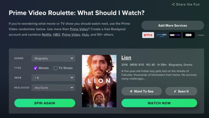Prime Video Roulette (Imagem: Reprodução /Amazon)