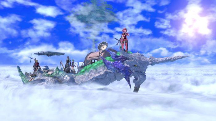 Cloud Sea of Alrest fica nas costas de um dos titãs de Xenoblade Chronicles 2 (Imagem: Divulgação/Nintendo)
