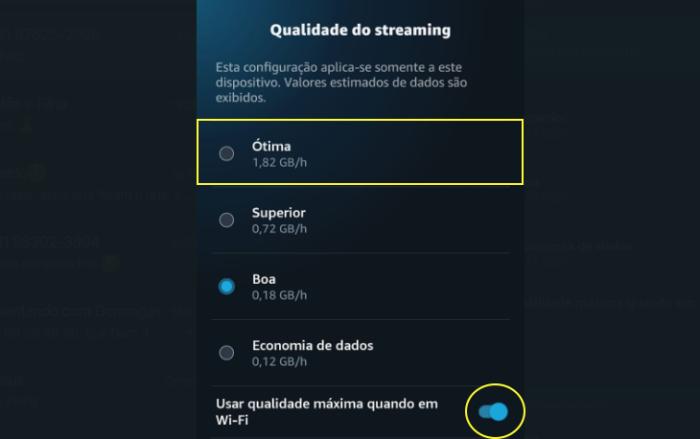 Qualidade do Streaming (Imagem: Reprodução / Amazon Prime Video)