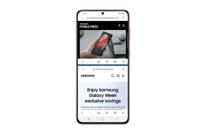 Modo de tela dividida no Samsung Internet 14