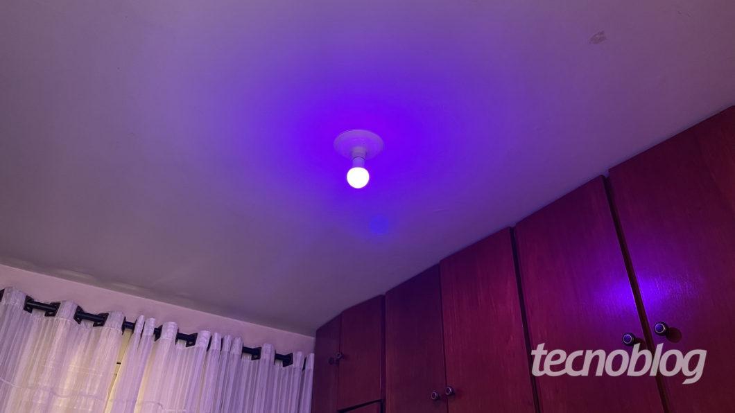 Smart Lâmpada Wiz A60 em lilás (Imagem: Darlan Helder/Tecnoblog)