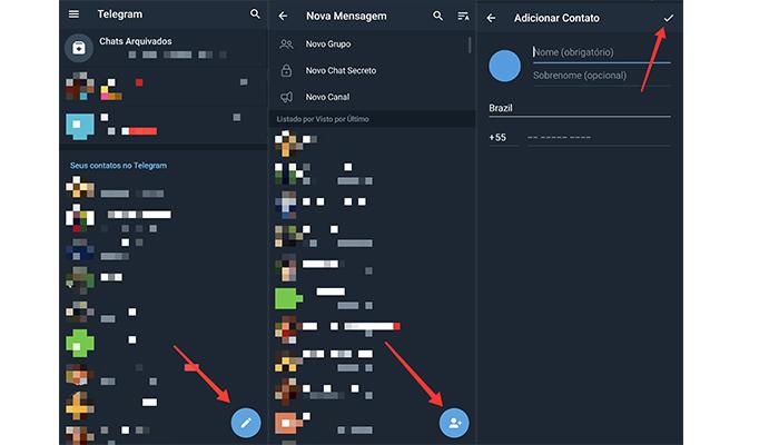 Processo para adicionar um contato no Telegram (Imagem: Reprodução/Telegram)