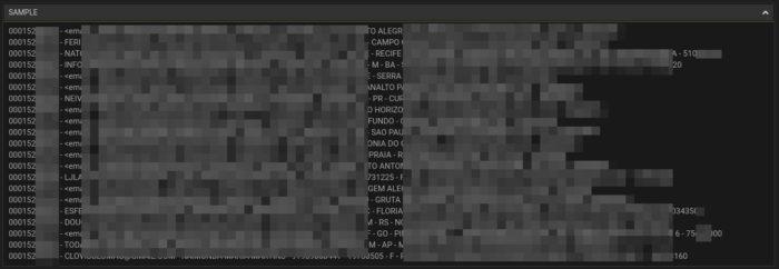 Amostra da base de dados reúne 10 milhões de registros (Imagem: Reprodução/DefCon-Lab)