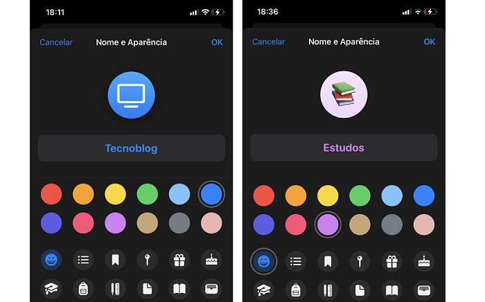 Como mudar o ícone e cor de listas do Lembretes do iPhone / Paula Alves / Reprodução