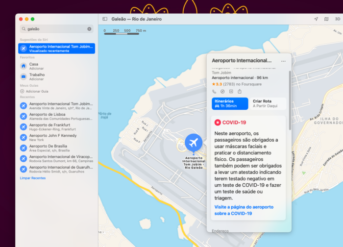 Orientações sobre COVID-19 em aeroportos no Apple Mapas para macOS (Imagem: Reprodução/Tecnoblog)