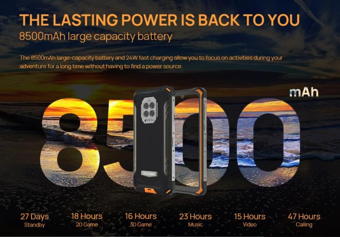 Bateria do Doogee S86 tem 8.500 mAh Imagem: Divulgação/Doogee)