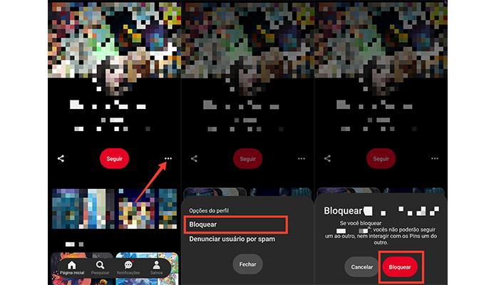 Processo para bloquear alguém no aplicativo do Pinterest (Imagem: Reprodução/Pinterest)