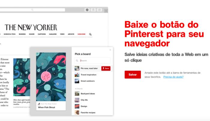 Botão de salvar no Pinterest (Imagem: Reprodução/Pinterest)