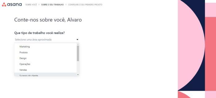 Configure seu perfil na Asana (Imagem: Reprodução / Asana)