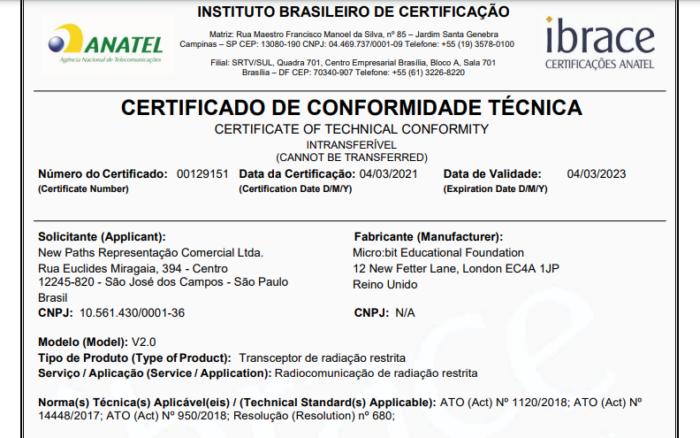 Certificado de conformidade técnica do micro:bit v2 (Imagem: Reprodução/Anatel)