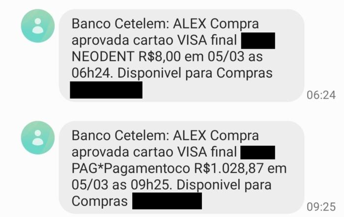 Compra indevida de mais de R$ 1 mil foi aprovada pela Cetelem (Imagem: Reprodução)