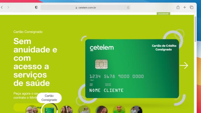 Site da Cetelem (Imagem: Reprodução)