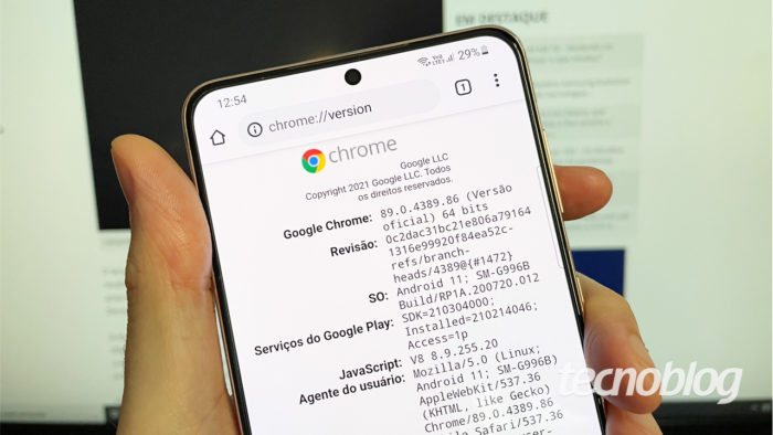 Chrome de 64 bits em um <a href='https://meuspy.com/tag/Espionar-Galaxy'>Galaxy</a> S21+ com 8 GB de RAM (imagem: Emerson Alecrim/Tecnoblog)