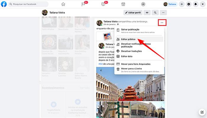 Editando a privacidade de posts Facebook