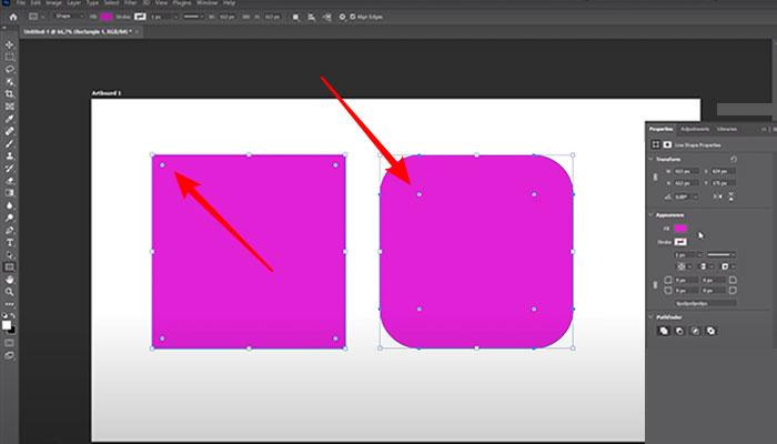 Editando formas retas em retas com bordas