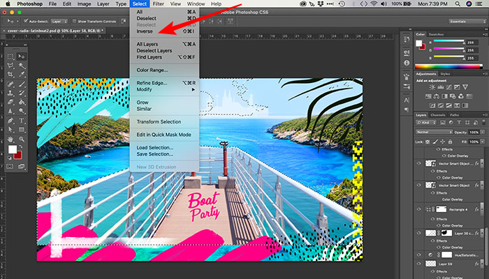 Invertendo seleção no Photoshop