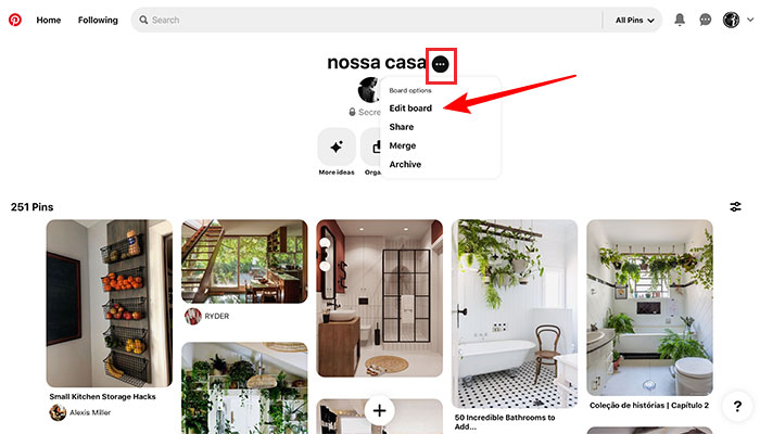 Tornando pasta secreta no Pinterest
