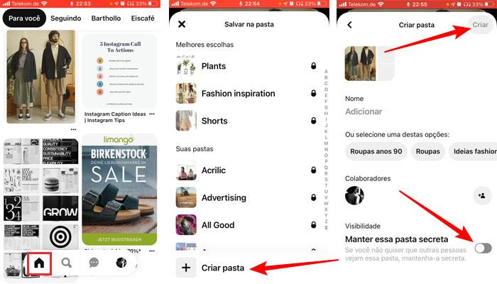 Criando pasta secreta no Pinterest no mobile