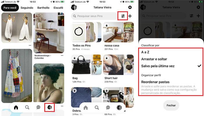 Visualizando todos os Pins no Pinterest versão mobile