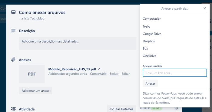 Como anexar arquivos no Trello / Reprodução / Diego Melo