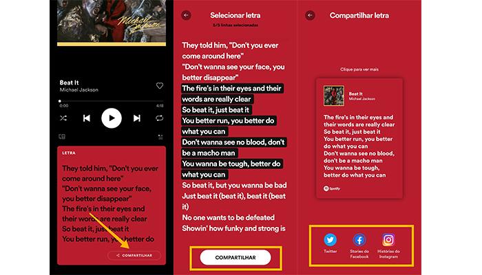 Processo para compartilhar trechos de letras de músicas no Spotify (Imagem: Reprodução/Spotify)