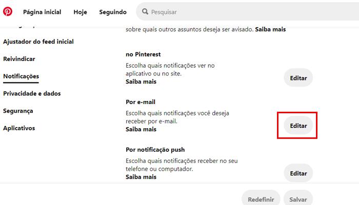 Processo para desativar as notificações por e-mail do Pinterest (Imagem: Reprodução/Pinterest)