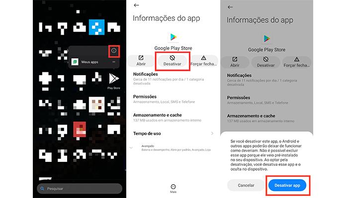 Processo para desativar a Play Store no Android (Imagem: Reprodução/MIUI 12)