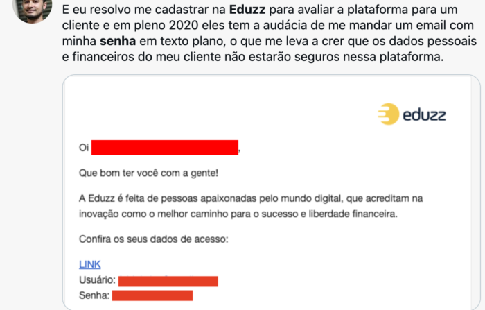 Eduzz sent password by email (Image: @ luzfcb / Twitter)