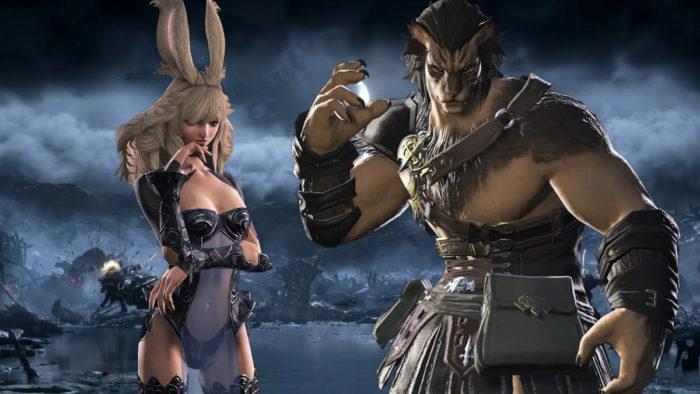 Viera (esq.) e Hrothgar, as raças introduzidas na expansão Shadowbringers (Imagem: Divulgação/Square Enix)