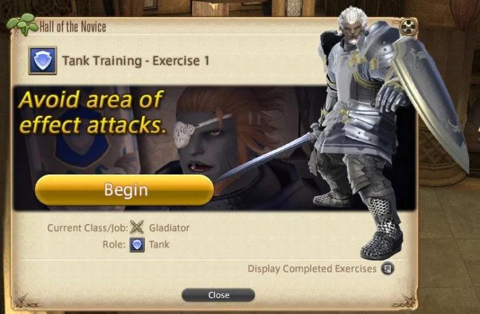 Completar os treinamentos do Hall of the Novice rende experiência e equipamentos (Imagem: Reprodução/Square Enix)