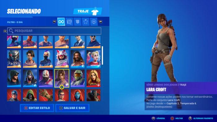 Opção para troca de skin em Fortnite (Imagem: Reprodução/Epic Games)