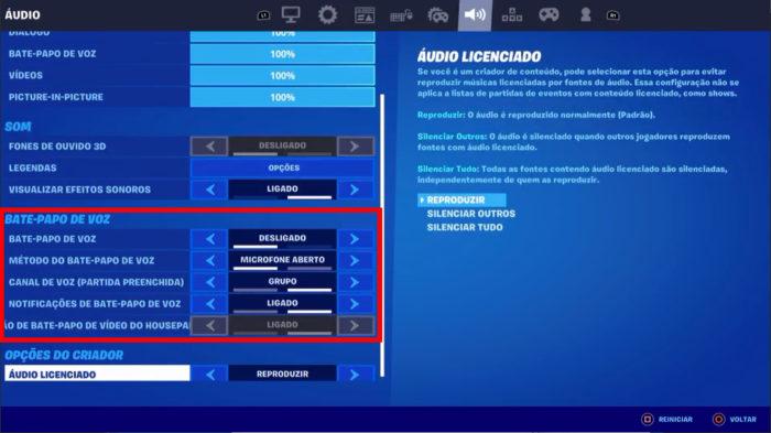 Configurações do chat de voz de Fortnite (Imagem: Reprodução/Epic Games) / como ativar o microfone no fortnite