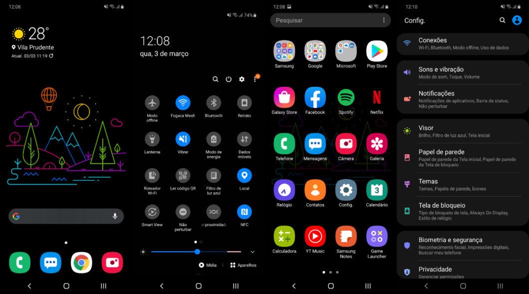 Interface One UI 2.5 acima do Android 10 (Imagem: André Fogaça/Tecnoblog)