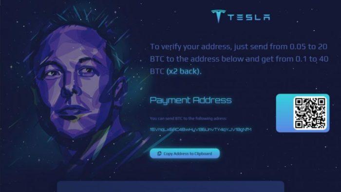 Um dos sites que divulgam o golpe como falsas premiações da Tesla (Imagem: Reprodução/BleepingComputer)
