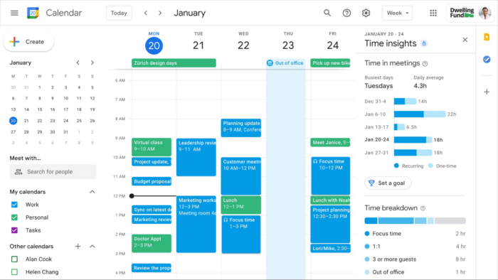 Focus Time e Time Insights no Google Agenda (Imagem: Divulgação/Google)