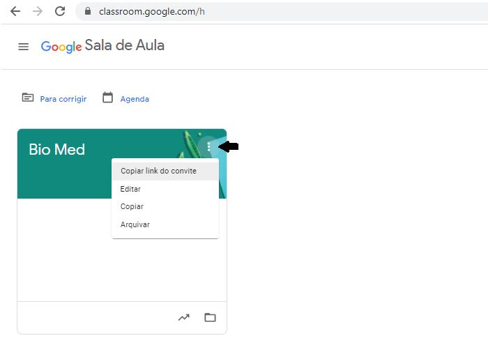 Link de convite de turmas do Google Classroom (Imagem: Reprodução/Google Classroom)