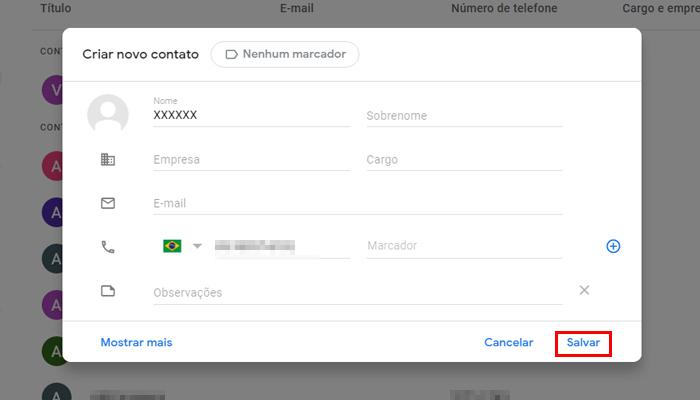 Processo para adicionar um contato no Google Contatos (Imagem: Reprodução/Google Contatos)