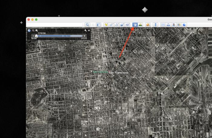 Google Earth com mapa antigo de São Francisco (Imagem: reprodução/Google Earth)