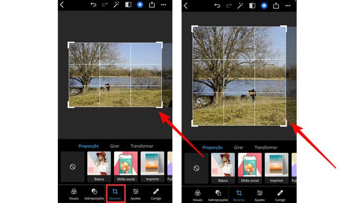 Cortando imagem no Photoshop Express