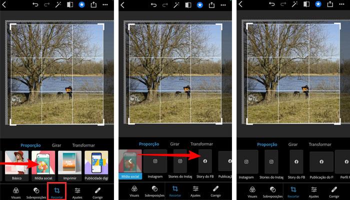 Medidas mídias sociais no Photoshop Express