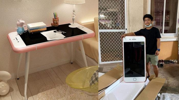 """Tailandês compra iPhone """"barato"""" e recebe mesa com formato de iPhone (Imagem: Reprodução/roc21)"""